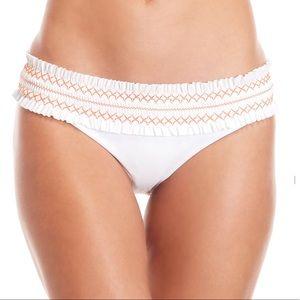 NWT Tory Burch White Costa Smocked Bikini Bottoms